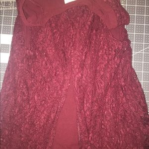Maroon tank top Lace